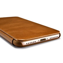 2017 Classic Genuine Leather Full Screen Protective Flip Case Cover For iPhone 7/7Plus Genuine Cowhide Mobile Phone bags case