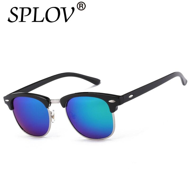 La mitad De Metal de Alta Calidad Gafas de Sol Hombres Mujeres Marca Diseñador Gafas de Sol de Espejo Gafas de Moda Gafas Gafas de Sol UV400 Clásico