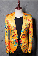 PYJTRL Brand Tide Mens Golden Chinese Style Dragon Pattern Embroidery Jacquard Suit Jacket Wedding Party Nightclub