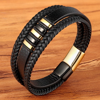 3 Layers Black Gold Punk Style Genuine Leather Bracelet