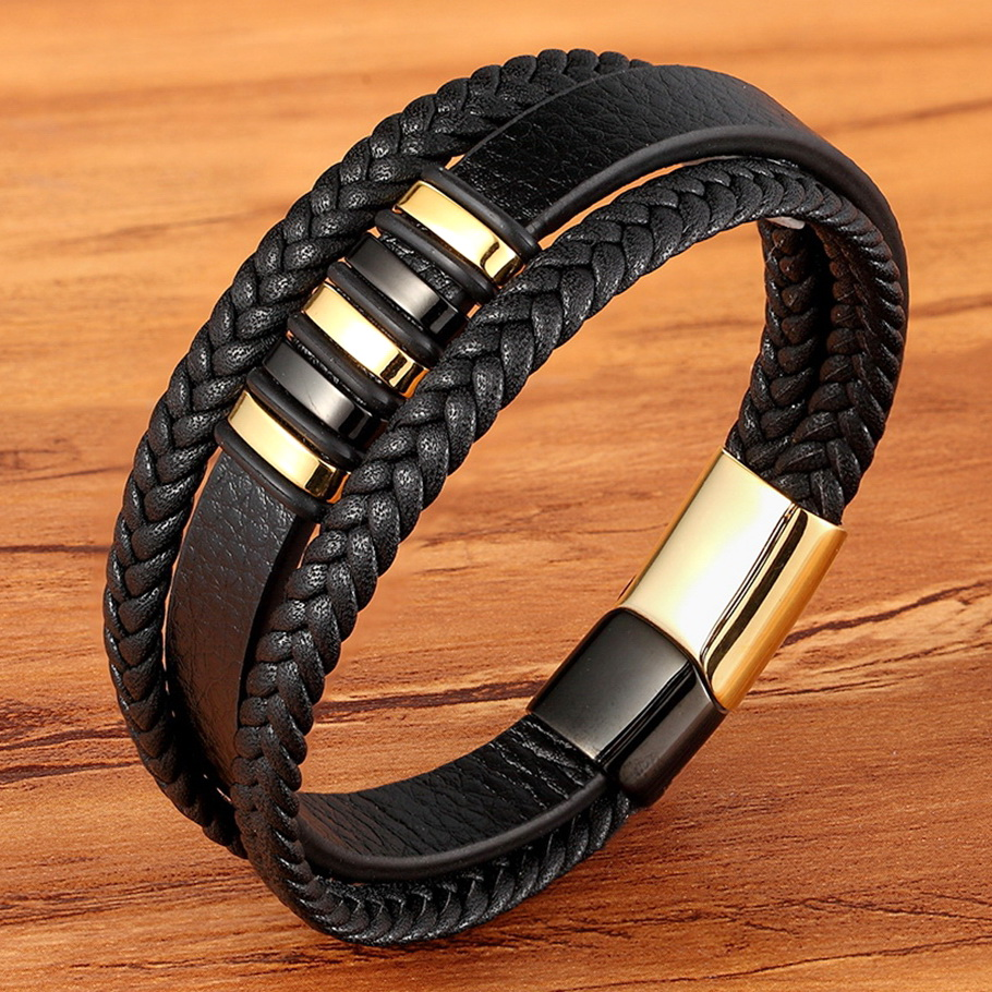 New 3 Layers Black Gold Punk Style Design Genuine Leather Bracelet for Men Steel Magnetic Button Birthday Gift Male Bracelets image