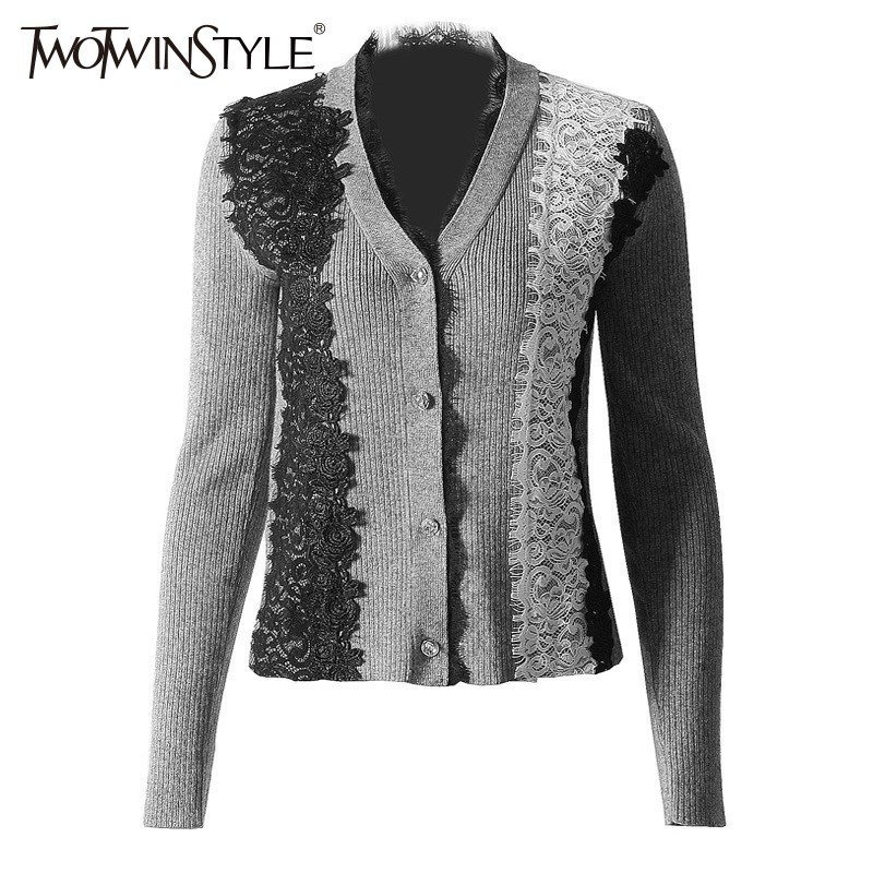 TWOTWINSTYLE Lace Patchwork Sweater For Women Long Sleeve Hit Colors Knitting Cardigan Female Casual Fashion 2019 Spring New