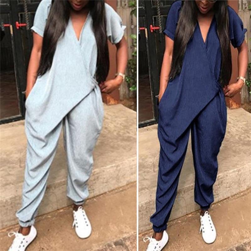 Women Loose Short Sleeve Harem Pants   Jumpsuit   Romper With Pockets Office Ladies Summer Fashion Solid Color V-neck Bodysuit