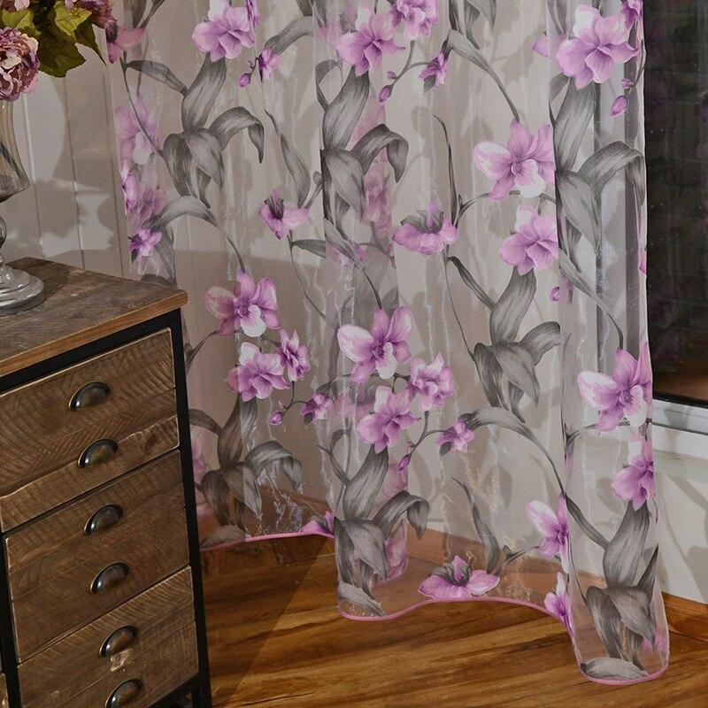 Ziedu izdegšanas tilla aizkari viesistabas balss aizkariem - Mājas tekstils - Foto 3