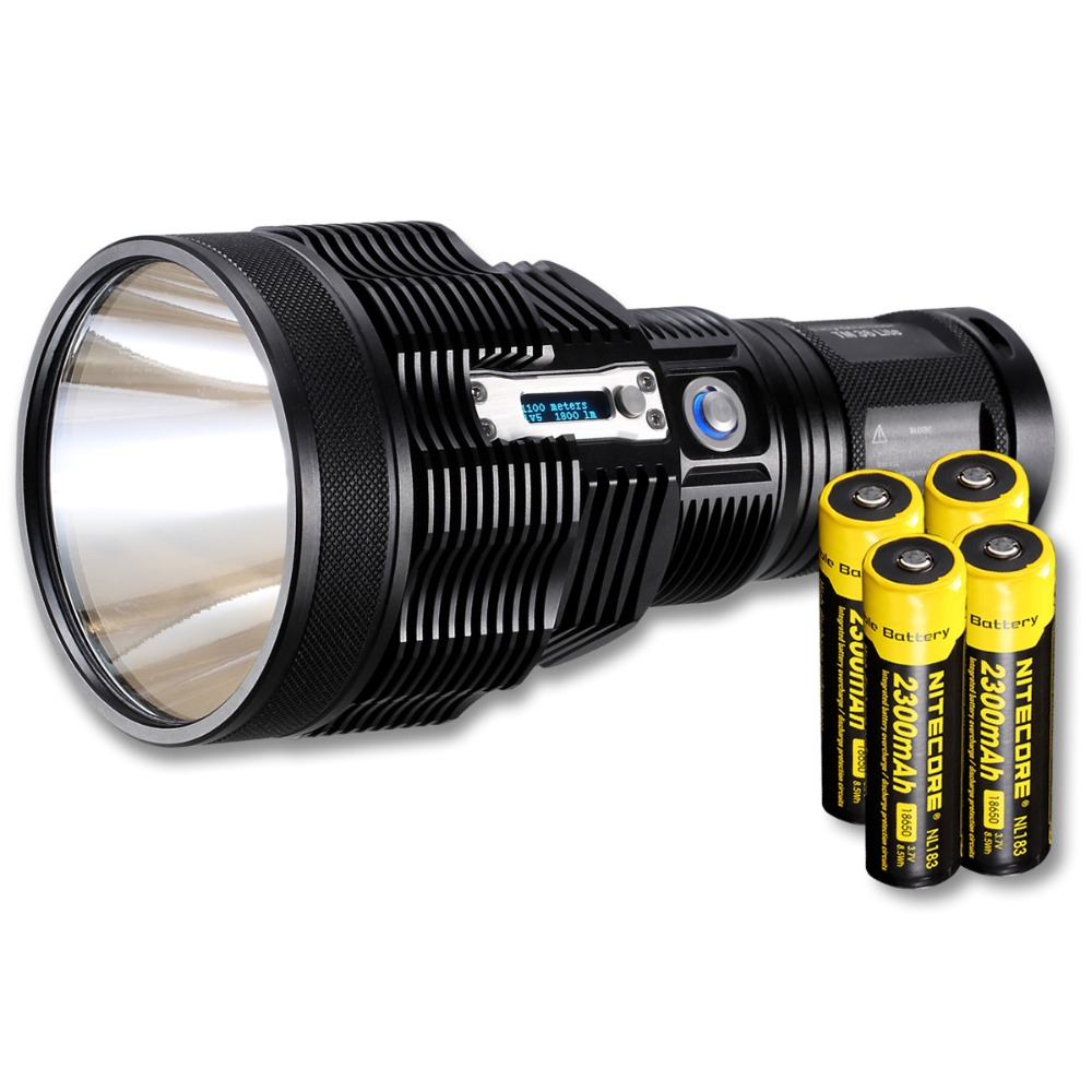 SALE NITECORE TINY MONSTER TM36Lite SBT-70 PA-C2 1800LM LED Rechargeable Flashlight 1100M Beam Distance +4*18650 Battery+Charger