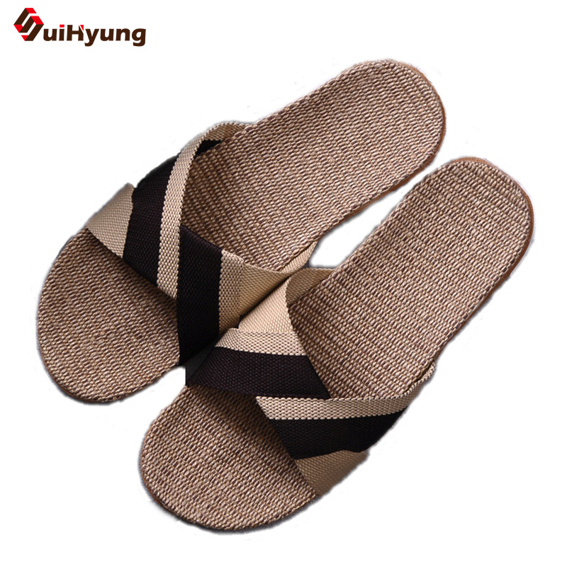 Suihyung Summer New Men' Slippers  Breathable Linen Mixed Colors Home Slippers Thick Non-slip Indoor Slippers Beach Slippers coolsa women s summer flat cross belt linen slippers breathable indoor slippers women s multi colors non slip beach flip flops