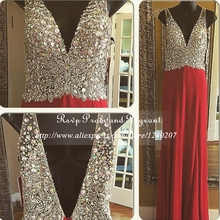 Sexy Real Photos See Through Beaded Top V-neck Sleeveless Chiffon Red Mermaid Long Prom Dresses