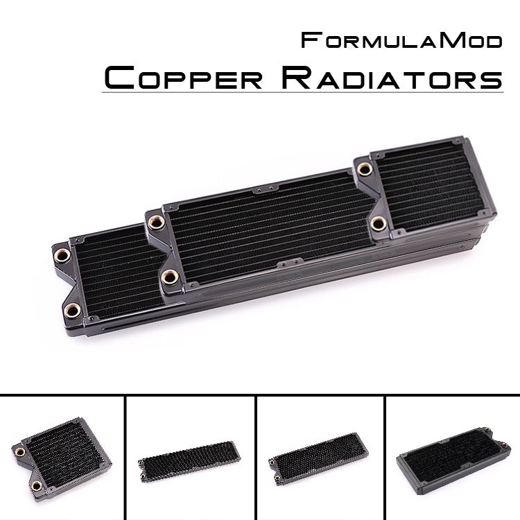 FormulaMod Fm-CoRa-BK, 120/240/360/480mm Copper Black Single Row Radiators, 29mm Thickness, Suitable For 120*120mm Fans