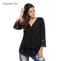Yolanda Paz New Women S Newest Fashion Spring Summer Blouses Lace Chiffon V Neck Shirts Plus