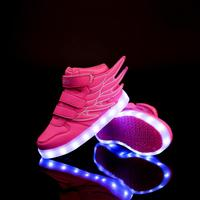 Children's Shoes Child Girls Boys LED Charging Shoes Fashion Wings Luminous Boy Sports Shoes Teenager Casual Sneaker 308