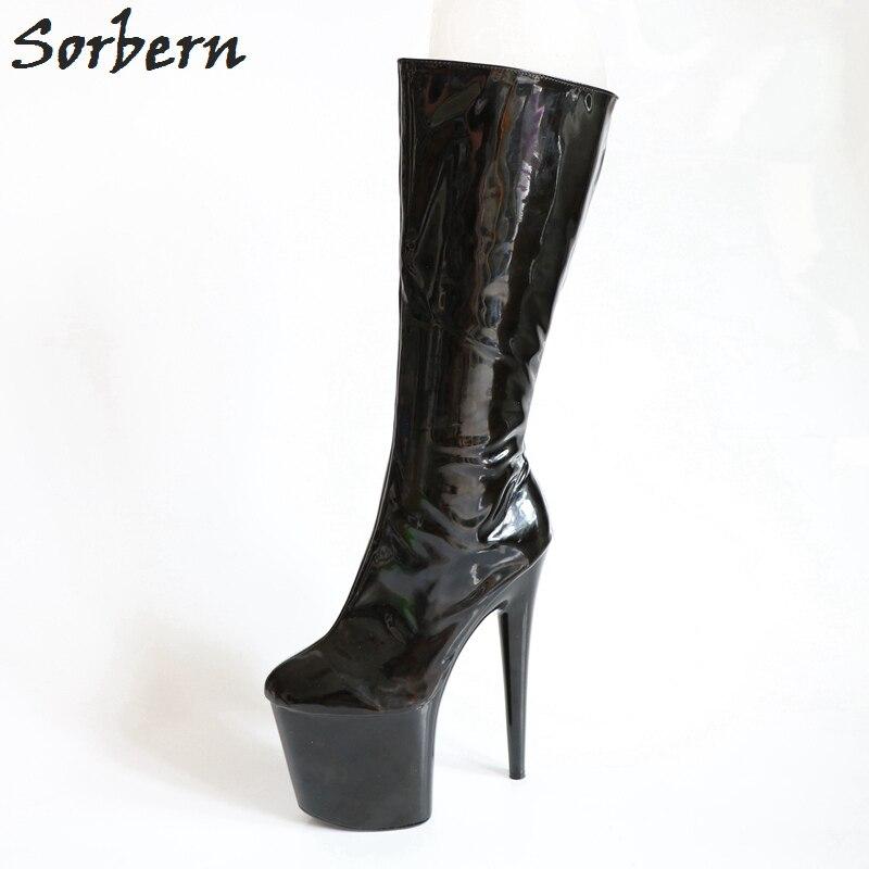 Mode De Taille Pour Bottes Genou Haute Femmes Femme Pointu 12 Images Réelles Boot Chaussures Noir Talons Blanc Sorbern Rouge qwZXYPvx
