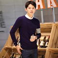2016 New White Striped Sweater Men Winter Wool Brand Clothing Male Sweaters Pullovers Men's Knitted Sweaters Big Size 3XL 4XL 50