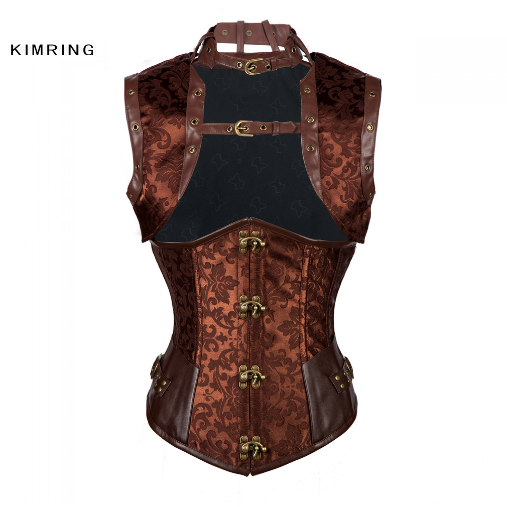 Kimring Women Plus Size Steampunk Corset Gothic Steel Boned Underbust Corset Top Faux Leather Waist Trainer Corsets and Bustiers