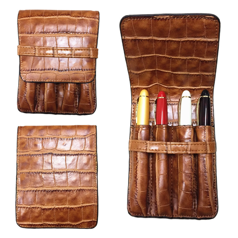 HIGH QUALITY LUXURY BROWN ROLLER AND FOUNTAIN PENS CASE HOLDER FOR 4 PEN цены