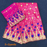 African Riche Getzner fabric with Embroidery Bazin lace beaded fabric for dress African lace fabric f1qzA255