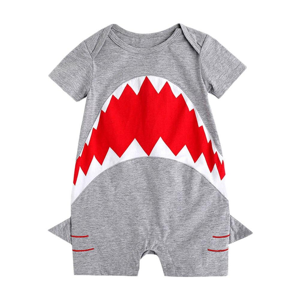 46ddf36b19e3 Newborn Kids Baby Boys Summer Clothes Shark Cotton Romper Jumpsuit ...