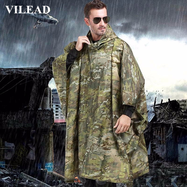 VILEAD Polyester Impermeable Outdoor Rain Coat Waterproof Raincoat Women Men Cloak Durable Fishing Poncho Camping Tour Rain Gear