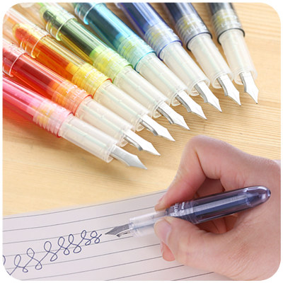 Japanese Cute Multi Colored Ink Sac Fountain Pen 0.5mm Stainless Steel Nib Fountain Pens For Writing 3pcs pilot pen students use transparent colored mini fountain pen disposable ink sac