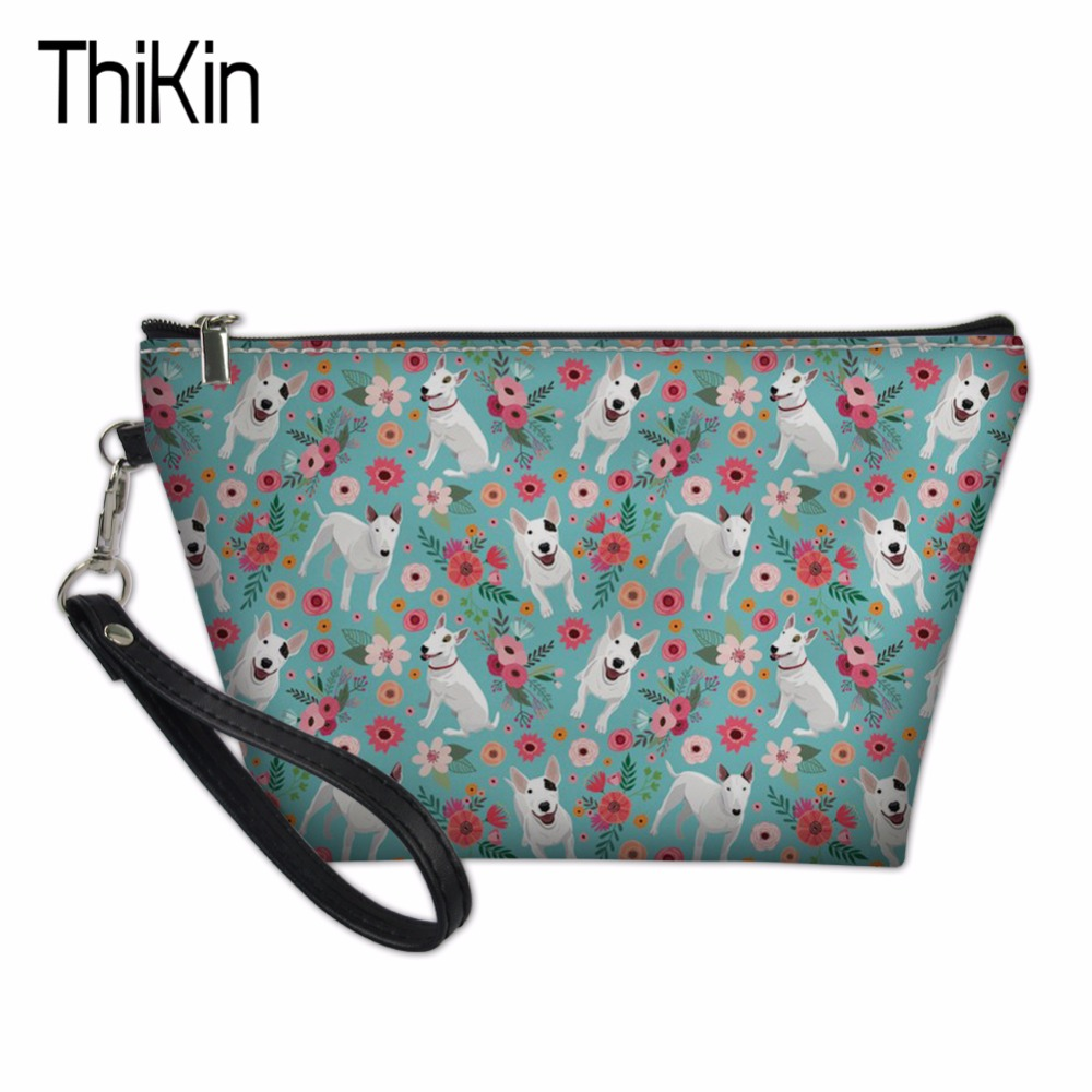 THIKIN 3D Printing Pit Bull Terrier Portable Women Makeup Bag Organizer Ladies Travel Cosmetic Case Summer Toiletry Storage Bags