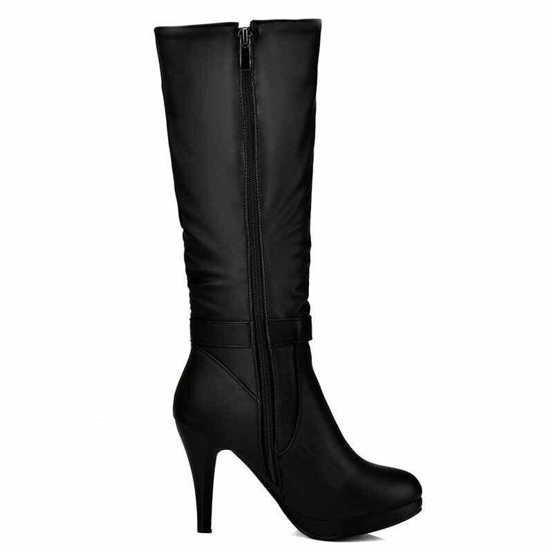 Kadın Platformu Ince Yüksek Topuk Diz Yüksek Çizmeler Moda Yay Düğüm Yan Fermuar Elbise Çizmeler Yuvarlak Ayak Ayakkabı Siyah Beyaz mavi