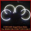Para Bmw E46/E39/E38/E36 3 5 7 serie HID Estilo LED COB Angel Eyes Anillos de Halo Kit luces 131mm * 4 Blanco Brillante Estupendo Del Coche Styling