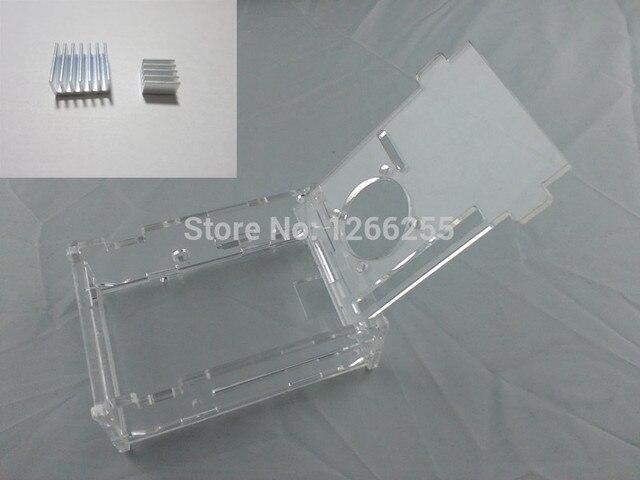 Transparente Acryl Fall Lüfter Für Raspberry Pi 3 Modell B (Plus) + 2 stücke reines aluminium-kühlkörper set kit