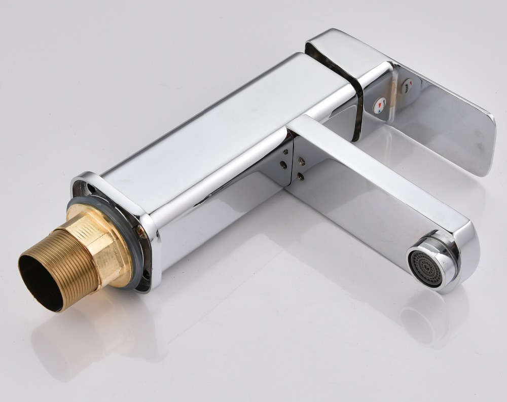7 Faucet Finishes For Fabulous Bathrooms: Φ_ΦSHAI Brass Ontology Angle Bathroom Basin Faucet Brass