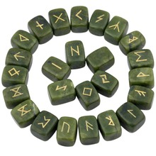 TUMBEELLUWA 1Lot (25Pc) Green Jade Engraved Rune Stones Set Healing Reiki Crystal Tumbled