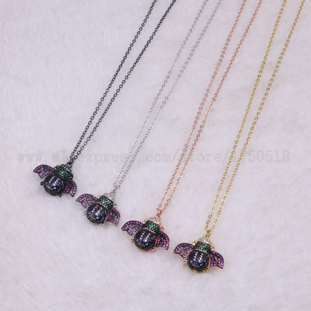 5 strands Bee Insects pets bugs necklace for lady Bee pendants small size jewelry 18 mix color necklace pets beads 3297