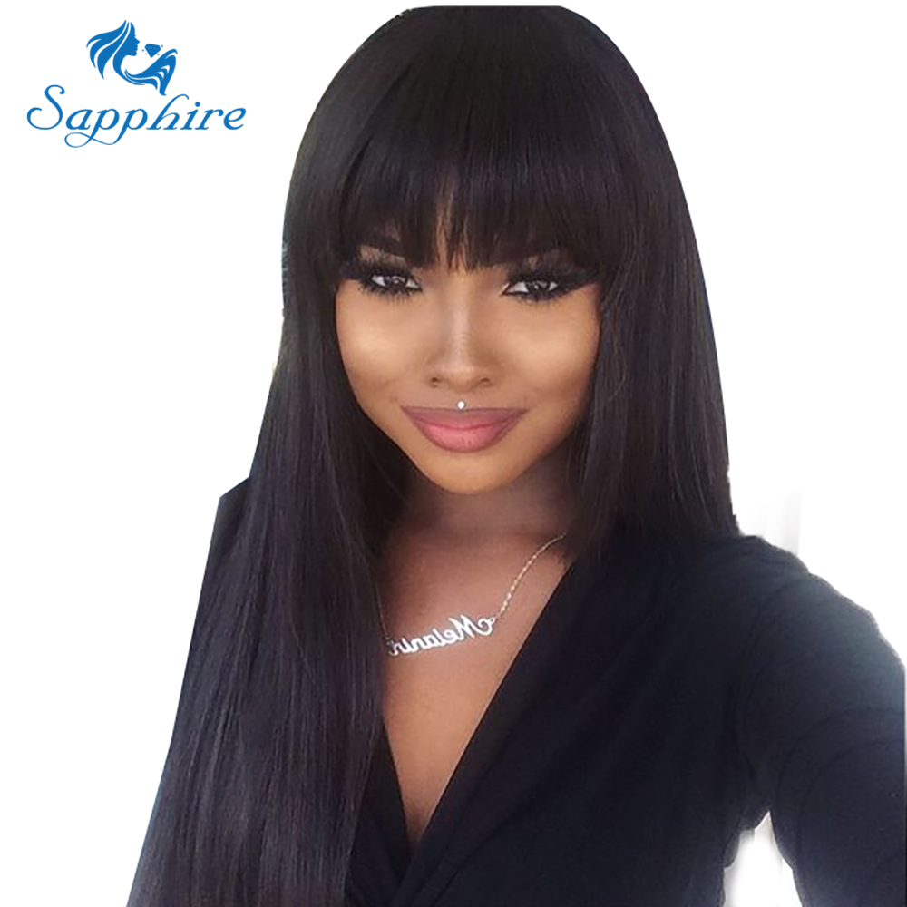 Sapphire Non Lace Front Long Straight Wig Peruvian Human Hair Wigs With Bangs Remy Baby Hair
