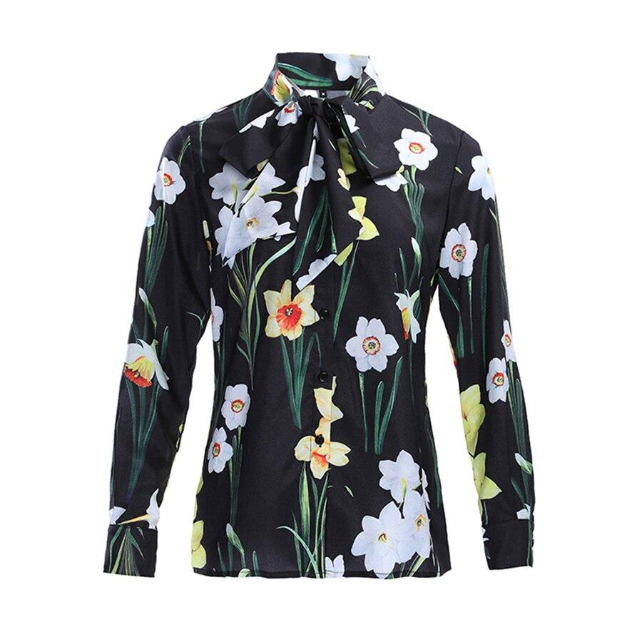 عارضة قميص طباعة زهرة الصيف قميص المرأة طويلة الأكمام عالية الجودة القوس قمم الإناث-في بلوزات وقمصان من ملابس نسائية على  مجموعة 1