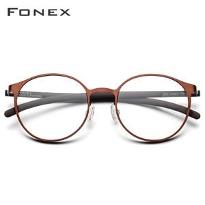 Image 2 - إطار نظارات فونكس الرجالية البصرية خفيفة الوزن مستديرة الشكل نظارات طبية لقصر النظر للنساء نظارات بدون مسامير معدنية 984