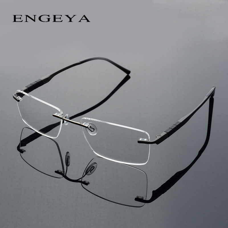 2016 ENGEYA סופר אור טיטניום סגסוגת מרשם משקפיים מסגרת, רטרו ברור אופטי המשקפיים ללא שפה מסגרות לגברים #164