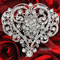 Luxury Large Heart Flower Brooch For Wedding Elegant Women Bridal Bouquet Brooch Pins Hot Selling Retail Stunning Diamante Pins