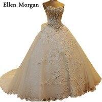 Vintage Lace Ball Gowns Wedding Dresses 2019 Vestido De Noiva Appliques Sexy Sweetheart Crystal Court Train Princess Bridal Gown