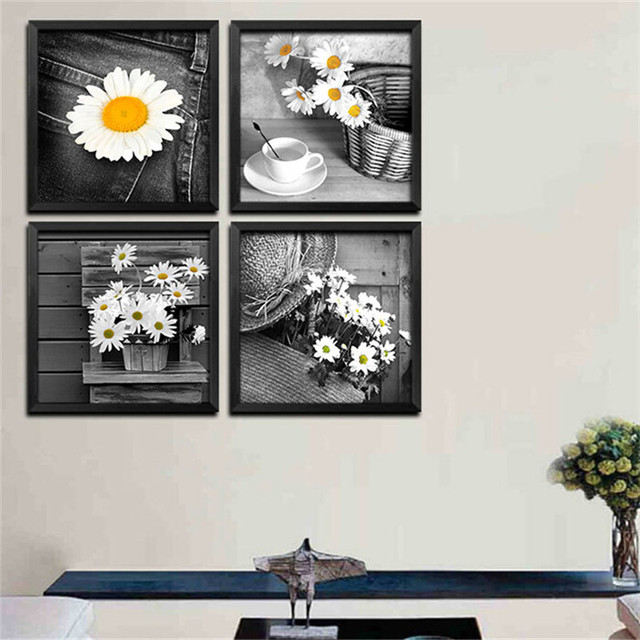 Daisy Flowers Modern Canvas Paintings Daisy Painting Home Decor For Living  Room Black White Decorations Picture
