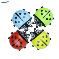 Hot Ladybug Sucker Children Kids Toothbrush Holder Suction Hooks Toothbrush Wall Suction Bathroom Sets X2