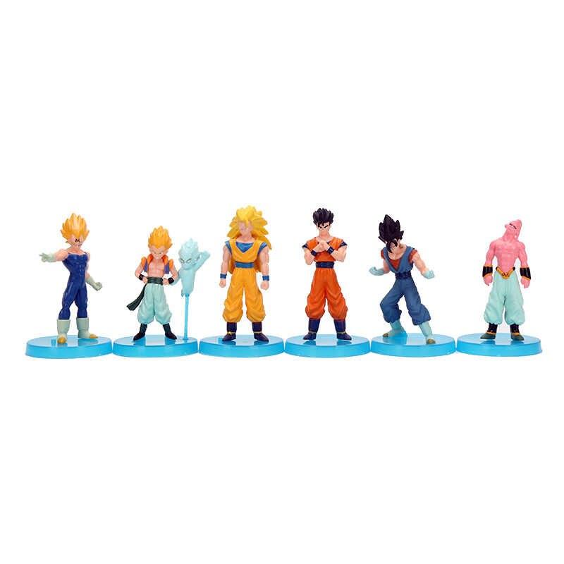 6 pçs/lote Figuras De Dragon Ball Z Son Goku Vegeta Trunks Buu Gohan Piccolo Figuras de Ação Presentes Coleção Toy