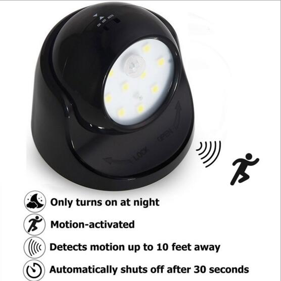 9led safe wireless light operated 360 degrees motion night light battery power sensor outdoor and battery powered indoor lighting