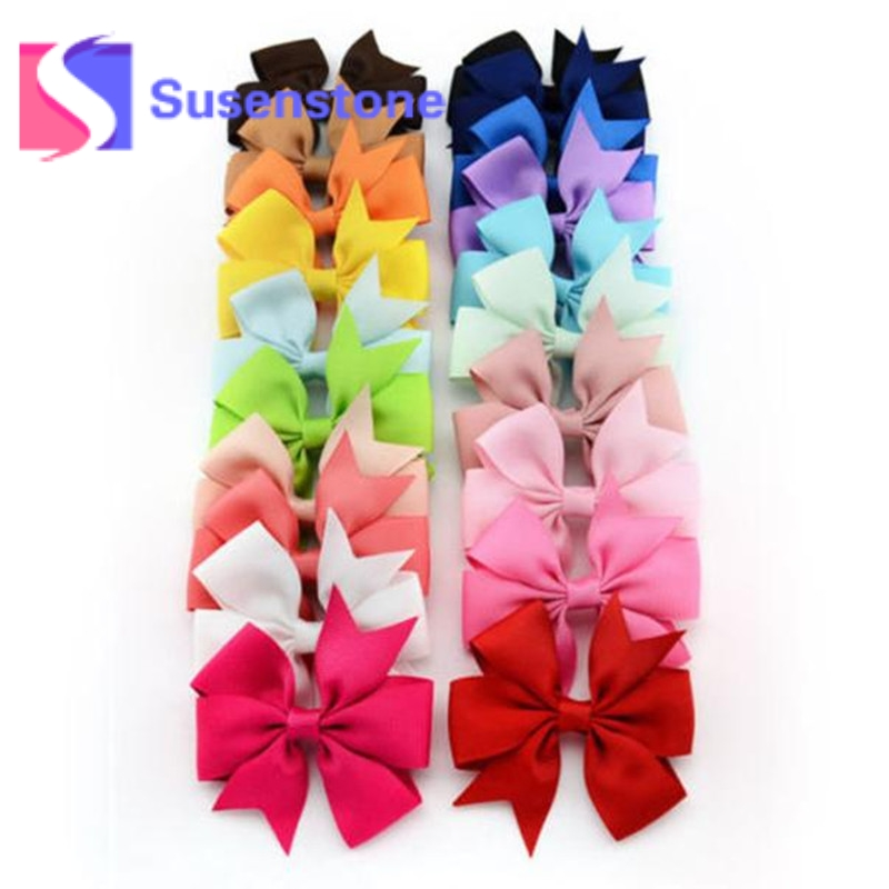 20pcs/set Bowknot Kids Baby Children Hair Clip Bow Pin Barrette Hairpin Accessories for Girls Ribbon Hair Bow Ornaments Hairgrip 2pcs bowknot girl kids mini hair clip hairgrip satin hair ribbon bows hairpin accessories for girls hair clips hairclip barrette