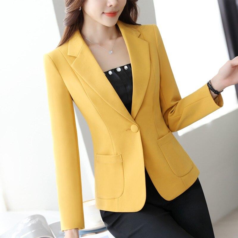 Autumn New Solid Black Women Blazer Long Sleeve One Button Pocket Brief Elegant Coats Mid-Waist Slim Chic Ladies Blazers L1533