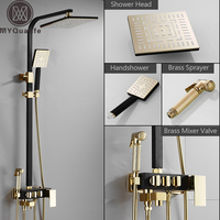 Rainfall Shower Faucet Golden Black Bathroom Shower Set With Bidet Sprayer Mixer Tap Wall Mount Shower Hot Cold Water Tap