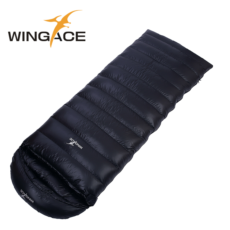 WINGACE Fyll 600G 1000G Envelope Goose Down Sleeping Bag Utendørs Voksen Ultralight Camping Warm Splicing Turister Sleeping Bags