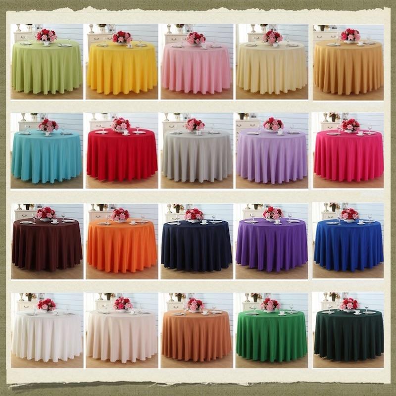 Dia. 180 cm-320 cm hôtel en plein air fête de mariage Banquet nappe Table à manger couverture propagation couleur unie ronde 18 couleurs 7 tailles