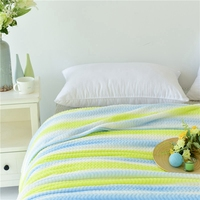 Blue and Green Striped Blanket Cheap Polyester Throw Blanket on The Bed/sofa/chair Soft Flannel Blanket for Kid/adults