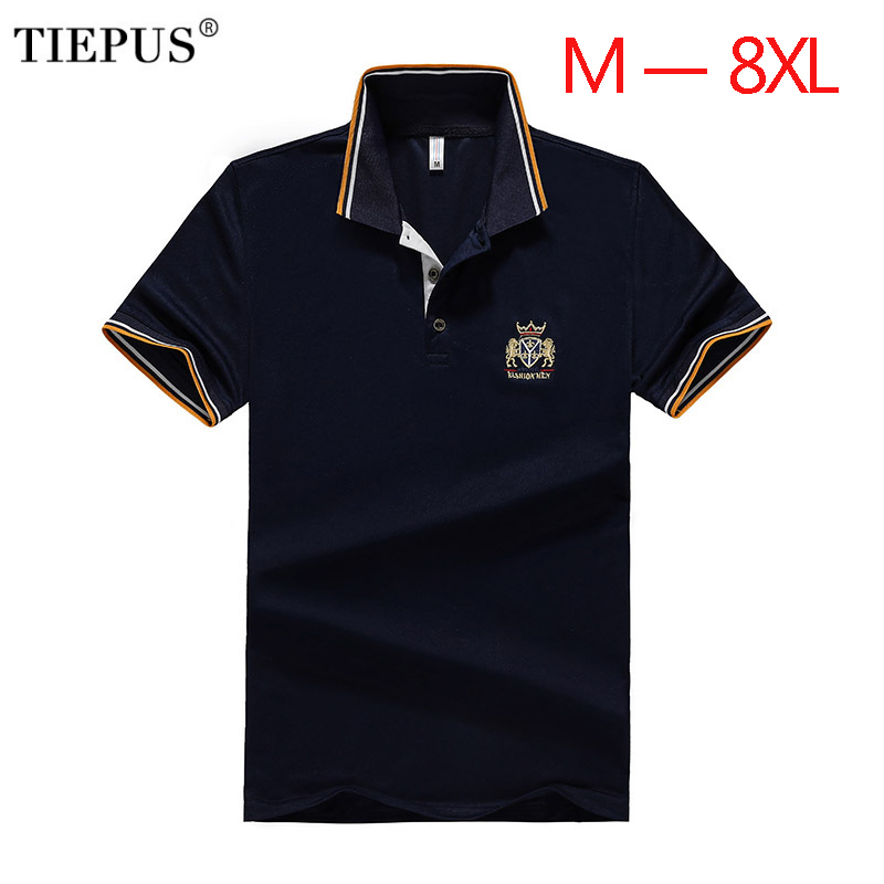 TIEPUS new   POLO   shirt men's cotton fashion embroidery plus size 5XL,6XL, 7XL, 8XL   POLO   men's casual short-sleeved shirt male