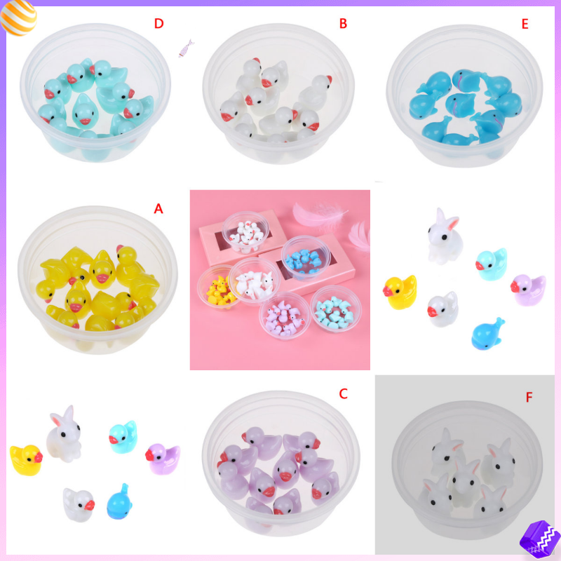 5/10pcs/bag Miniature Dollhouse Fluffy Clear <font><b>Slime</b></font> DIY Toy Mini <font><b>Duck</b></font> Rabbit Fairy Garden Home Plants Resin Crafts Gift Toy image