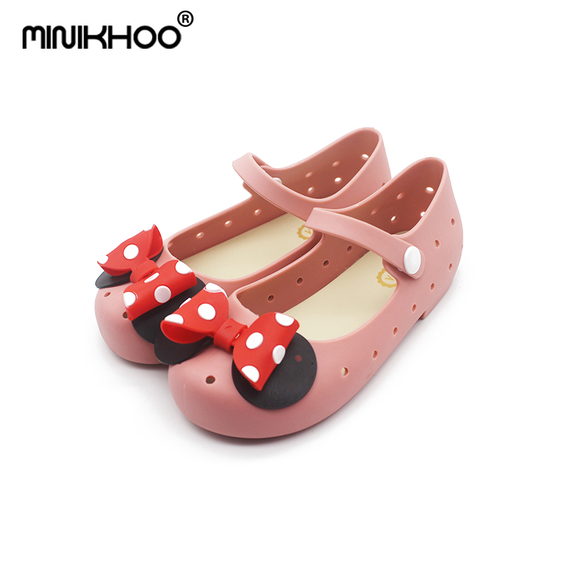 Mini Melissa 3Color Point Bow Girl Jelly Sandals 2018 New Children Shoes Frosted Hollow Sandals Melissa Beach Sandals Breathable