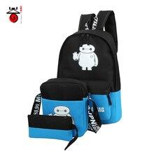 Senkey style Fashion Sets Girl Nylon School Bags Luminous Printing  Men Backpacks For Teenager Mochila Light Kid Women Backpack