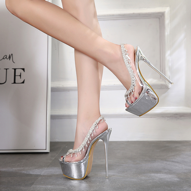 2018 New Crystal transparent high heels women shoes summer pumps clear material shoes woman sandals high heels Woman Party Shoes new women gladiator sandals ladies pumps high heels shoes woman clear transparent t strap party wedding dress thick crystal heel